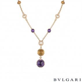 Bvlgari Rose Gold Parentesi Diamond And Multi-Gem Necklace